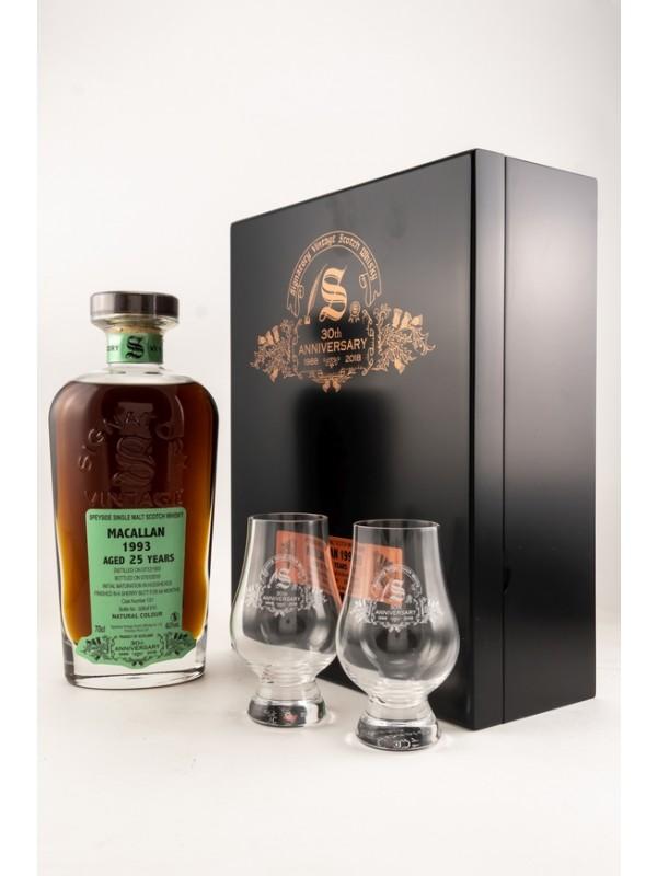 Macallan 1993 / 2019 Signatory Vintage 30th Anniversary mit 2 Gläsern - streng limitiert!