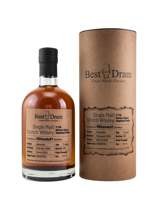 Best Dram Miltonduff 11 Jahre 2009 / 2020 1st Fill Oloroso Sherry Finish