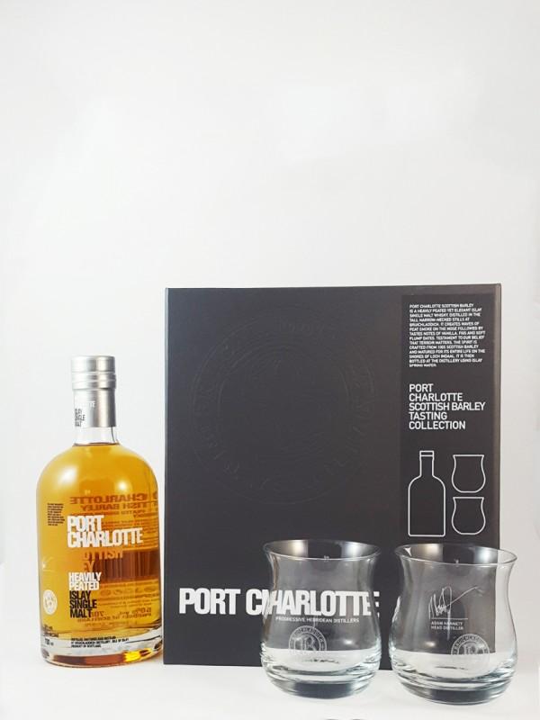 Bruichladdich Port Charlotte Scottish Barley mit 2 Tumblern