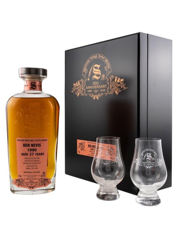 Ben Nevis 1990 / 2018 27 Jahre Signatory Vintage - 30th Anniversary + 2 Glencairn Gläser